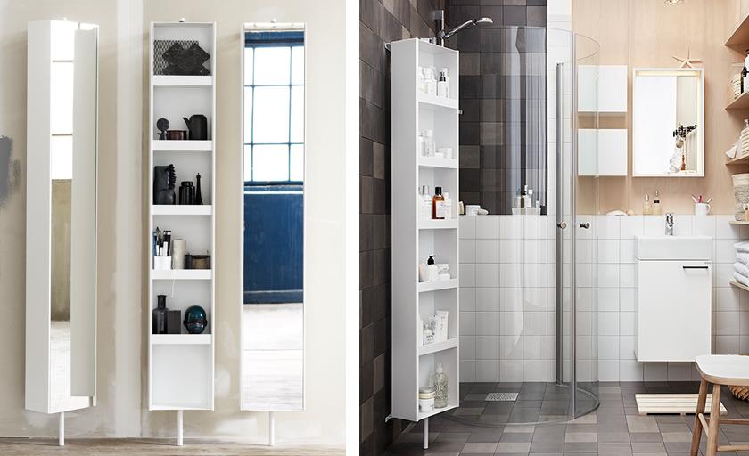 badrumsförvaring vridbarspegel