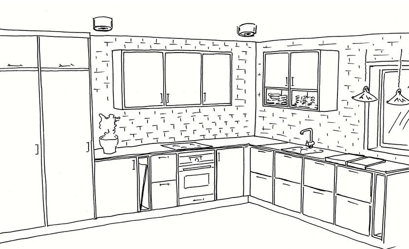 Mija presenterar olika förslag på Fridas kök