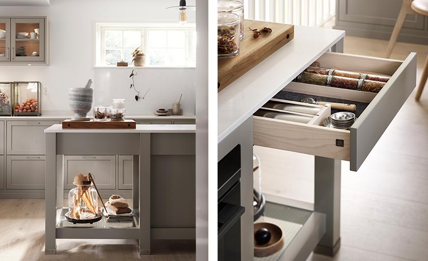 Köksö med lådkassett, trådglashylla och skåp